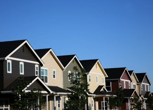 Line of homes in a residential neighborhood