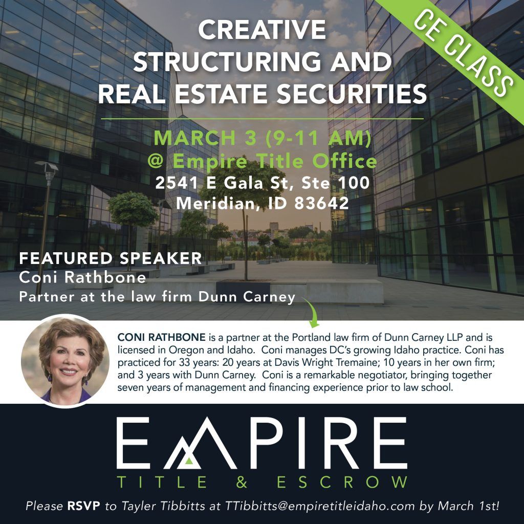 Creative Structuring and Real Estate Securities